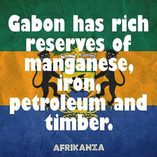 Gabon has rich reserves of manganese, iron, petroleum, and timber