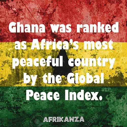 Ghana was ranked as Africa's most peaceful country by the Global Peace Index