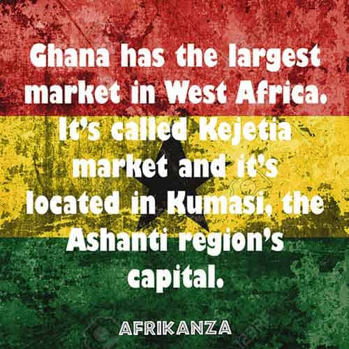 Ghana has the largest market in West Africa. It's called Kejetia market and it's located in Kumasi, the Ashanti region's capital