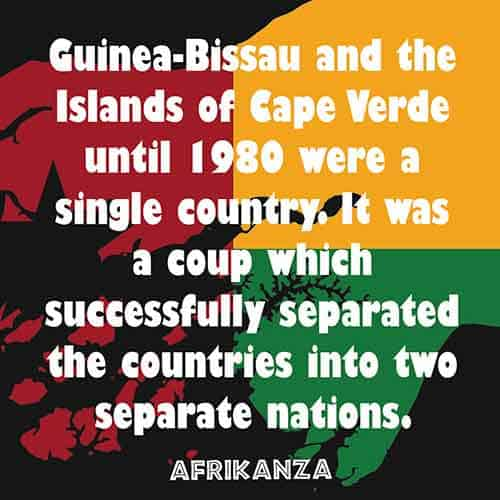 Guinea-Bissau and the Islands of Cape Verde until 1980 were a single country. It was a coup which successfully separated the countries into two separate nations