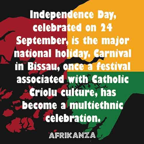 Independence Day celebrated on 24 September, is the major national holiday. Carnival in Bissau, once a festival associated with Catholic Criolu culture, has become a multi-ethnic celebration