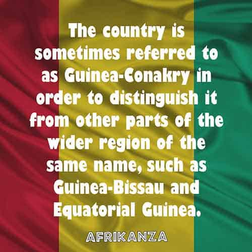 The country is sometimes referred to as Guinea-Conakry in order to distinguish it from other parts of the wider region of the same name, such as Guinea-Bissau and Equatorial Guinea