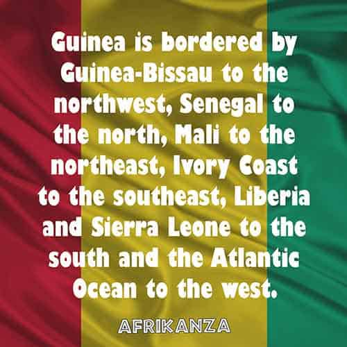 Guinea is bordered by Guinea-Bissau to the northwest, Senegal to the north, Mali to the northeast, Ivory Coast to the southeast, Liberia and Sierra Leone to the south and the Atlantic Ocean to the west