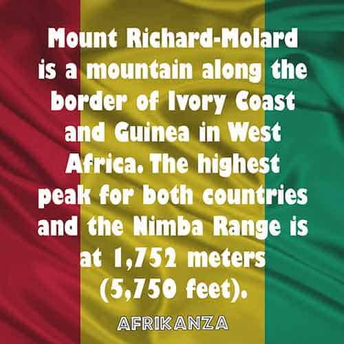 Mount Richard-Molard is a mountain along the border of Ivory Coast and Guinea in West Africa. The highest peak for both countries and the Nimba Range is at 1,752 meters (5,750 feet)