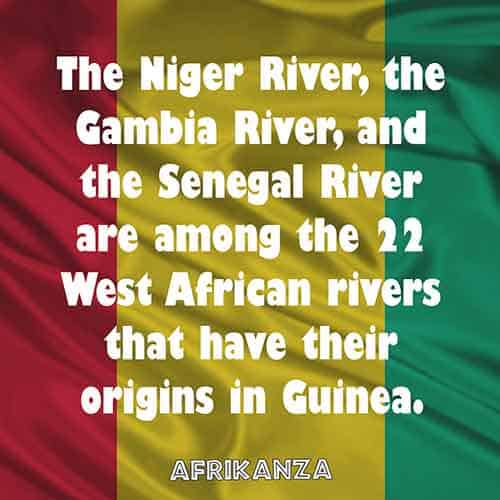 The Niger River, the Gambia River, and the Senegal River are among the 22 West African rivers that have their origins in Guinea