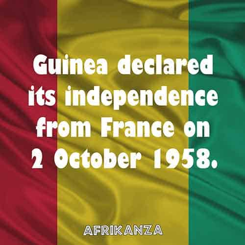 Guinea declared its independence from France on 2 October 1958