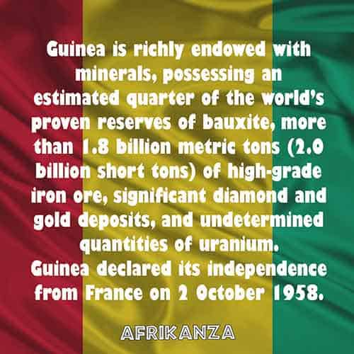 Guinea is richly endowed with minerals, possessing an estimated quarter of the world's proven reserves of bauxite, more than 1.8 billion metric tons (2.0 billion short tons) of high-grade iron ore, significant diamond and gold deposits, and undetermined quantities of uranium
