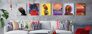African Canvas Art from Afrikanza Above a Couch in Living Room