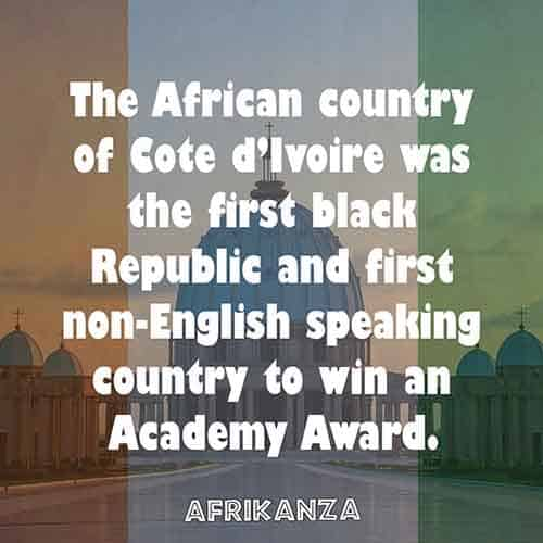 The African country of Cote d'Ivoire was the first black Republic and first non-English speaking country to win an Academy Award
