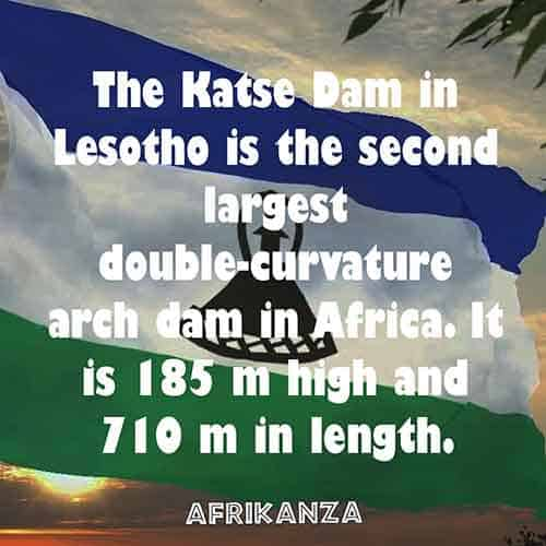 The Katse Dam in Lesotho is the second largest double-curvature arch dam in Africa. It is 185 m high and 710 m in length