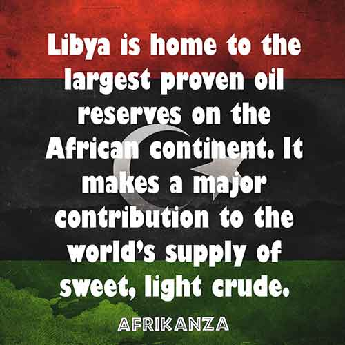 Libya is home to the largest proven oil reserves on the African continent. It makes a major contribution to the world's supply of sweet, light crude