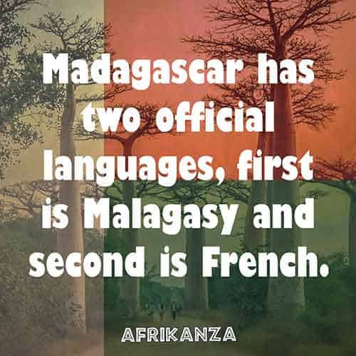 Madagascar has two official languages, first is Malagasy and second is French