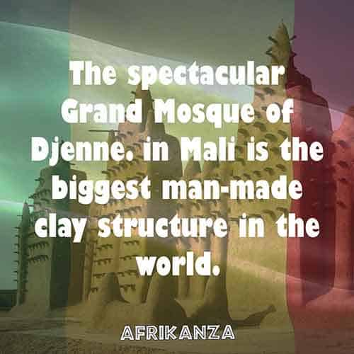 The spectacular Grand Mosque of Djenne in Mali is the biggest man-made clay structure in the world