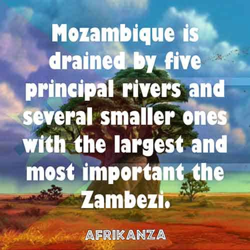 Mozambique is drained by five principal rivers and several smaller ones with the largest and most important the Zambezi