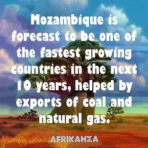 Mozambique is forecast to be one of the fastest growing countries in the next 10 years, helped by exports of coal and natural gas