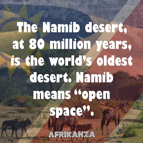 "The Namib desert, at 80 million years, is the world's oldest desert. Namib means, ""open space"""