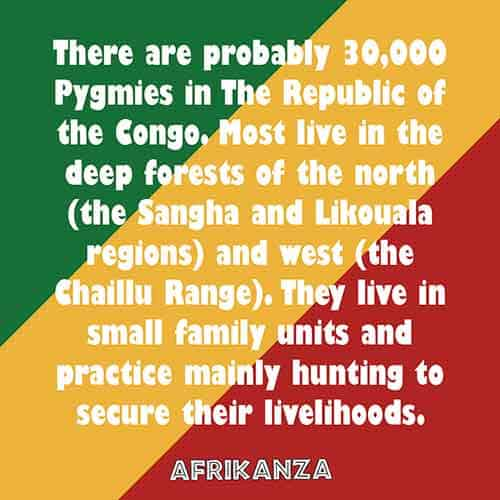 There are probably 30,000 Pygmies in The Republic of the Congo. Most live in the deep forests of the north (the Sangha and Likouala regions) and west (the Chaillu Range). They live in small family units and practice mainly hunting to secure their livelihoods.