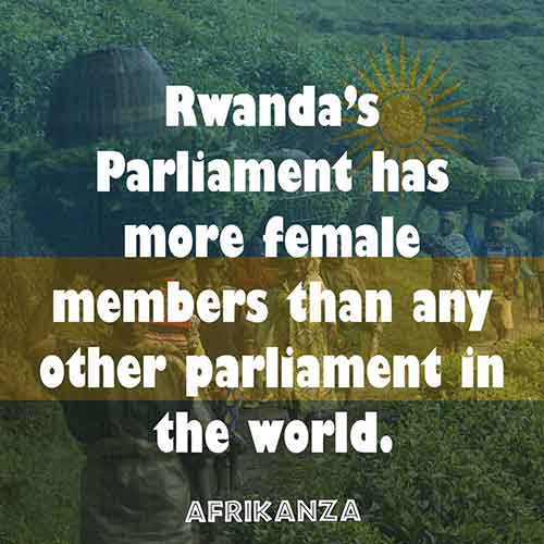 Rwanda's Parliament has more female members than any other parliament in the world.