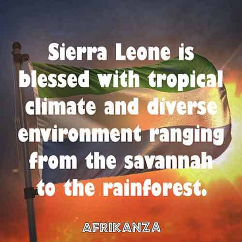 Sierra Leone is blessed with tropical climate and diverse environment ranging from the savannah to the rainforest.