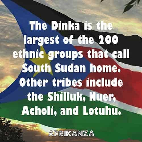 The Dinka is the largest of the 200 ethnic groups that call South Sudan home. Other tribes include the Shilluk, Nuer, Acholi, and Lotuhu.