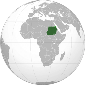 Sudan on the globe
