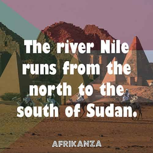 The river Nile runs from the north to the south of Sudan.