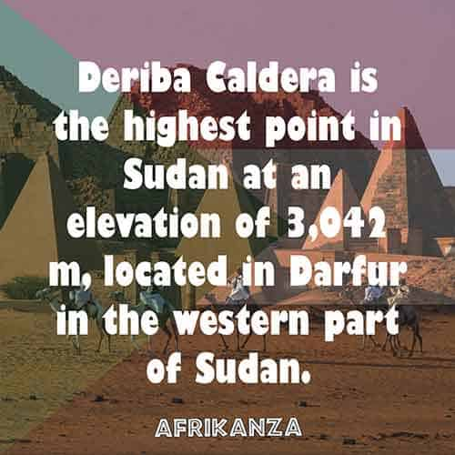 Deriba Caldera is the highest point in Sudan at an elevation of 3,042 m, located in Darfur in the western part of Sudan.