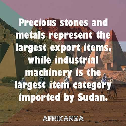Precious stones and metals represent the largest export items, while industrial machinery is the largest item category imported by Sudan.