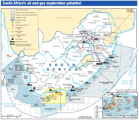 south african oil map