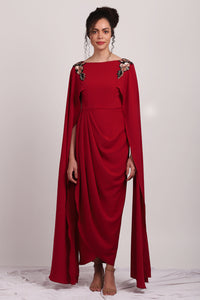 Metallic Floral  Red Drape Dress