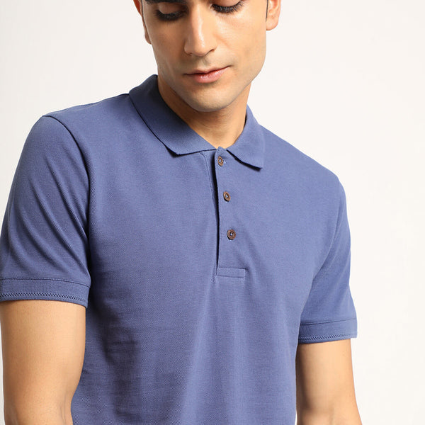 Slate Blue Organic Polo Neck T-Shirt