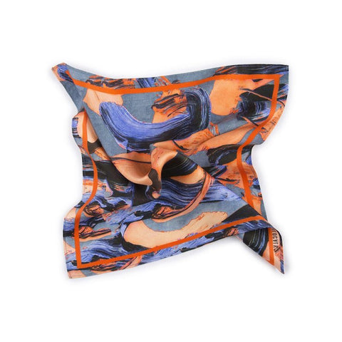 Croco Orange And Blue Printed Silk Pocketsquare