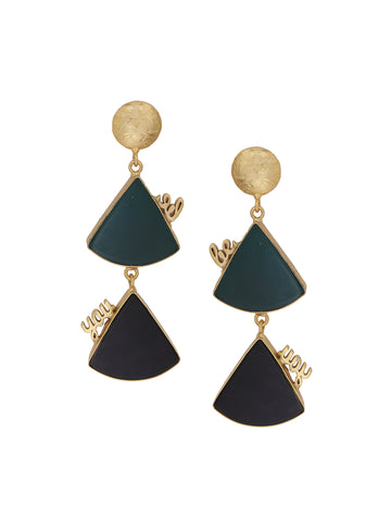 """Be You"" Earrings With Green And Black Triangle Stone Gold Polished Design"