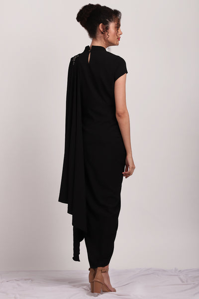 Black Pleated Sari Dress