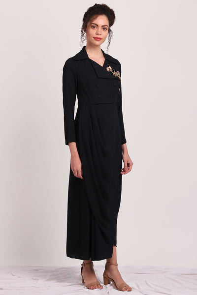 Navy Trench Drape Dress