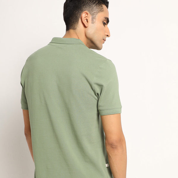 Meraki Green Organic Polo Neck T-Shirt