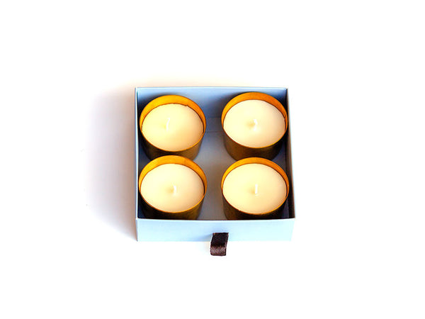 Hand Poured Brass Eos Candle Pack of 4
