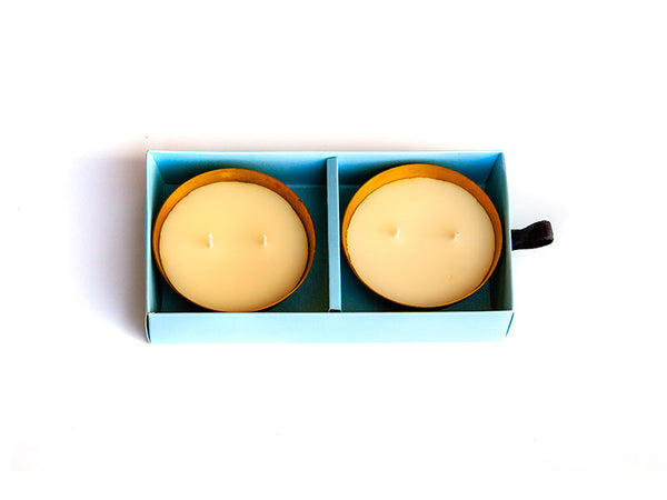 Hand Poured Brass Iris Candle Pack of 2