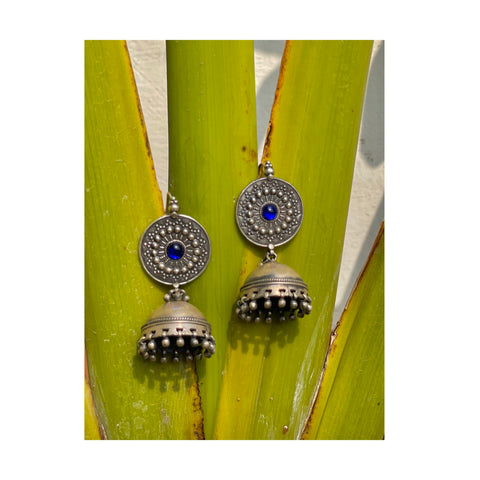 Blue Tone Tribal Silver Handcrafted Jhumki Earrings