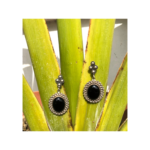 Amethyst Black Tribal Silver Handcrafted Earrings