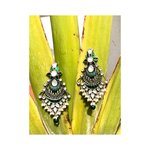 Green Kundan Inspired Handcrafted Silver Earrings With Pearls