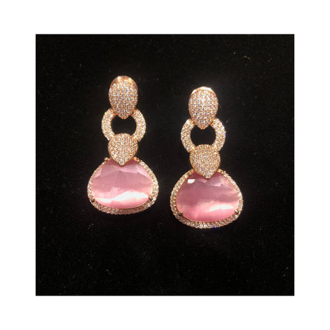 Pink Stone Earrings Made With Swarovski