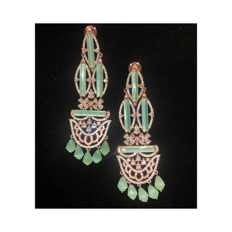 Green Handcrafted Earrings with Swarovski