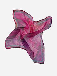 Pink Waves Printed Silk Pocketsquare