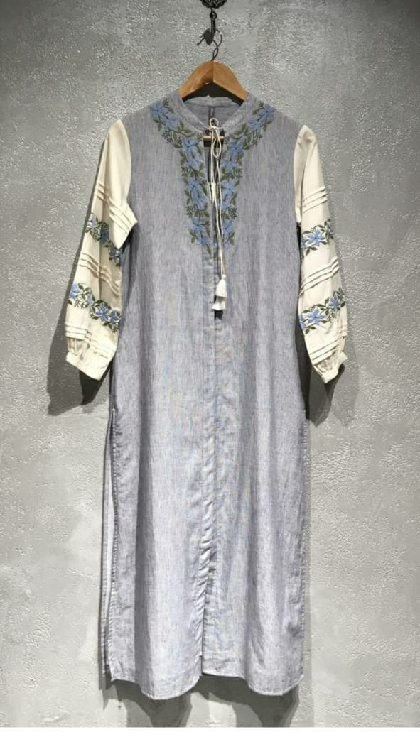 Handwoven Blue Stripe Kurti with embriodery
