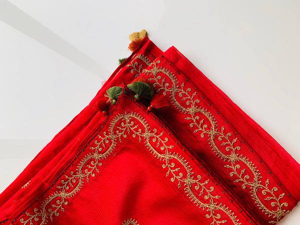 Tangerine & scarlet red chanderi set