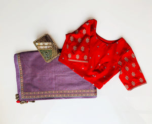 Lavender chanderi saree set