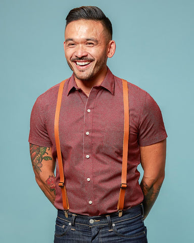 Made in USA Leather Suspenders & Shirt