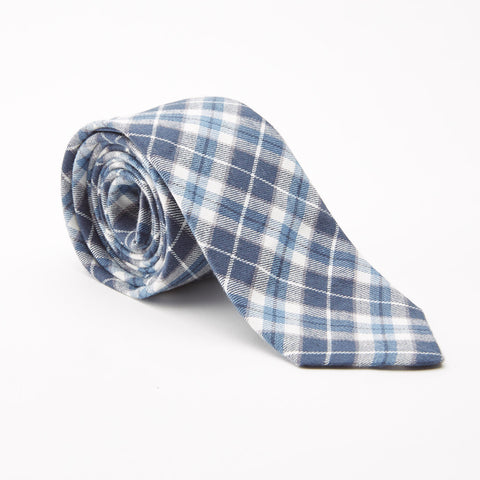 White, Blue & Grey Plaid Brushed Cotton Tie