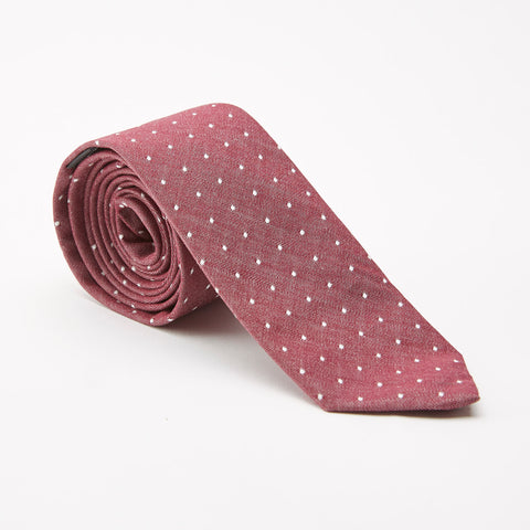 Burgundy Chambray with Polka Dot Tie